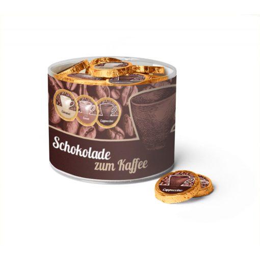 Kávés csokoládé tallér - Espresso, Cappuccino, Karamellás kávé- válogatás dobozban 8gx60db 480g