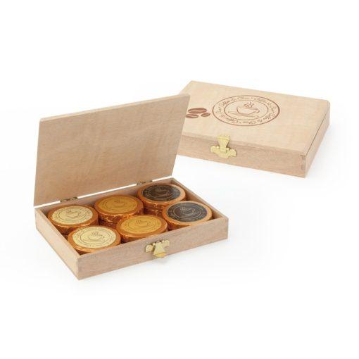 Kávés csokoládé tallér - Espresso, Cappuccino, Karamellás kávé- válogatás fa dobozban 8gx12db 96g